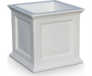 Fairfield square planter white